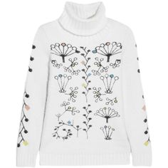 Peter Pilotto - Berry Intarsia Angora-blend Turtleneck Sweater ($461) ❤ liked on Polyvore featuring tops, sweaters, white, white sweater, angora turtleneck sweater, multi colored sweater, white top and berry sweater