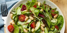 Bbq Salads, Easy Salads, Basil Vinaigrette Recipe, How To Cook Beans, Lean Protein, Bean Salad, White Beans, Cucumber, Food Processor Recipes