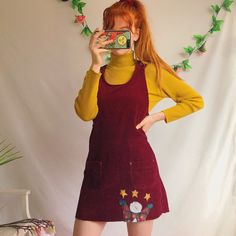 fbfb9464e75 The most adorable dark plum burgundy vintage corduroy dress - Depop  Pinafore Dress Outfit