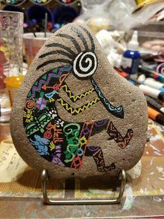 Hand painted kokopelli on a rock with stand. Seashell Painting, Pebble Painting, Pebble Art, Stone Painting, Stone Crafts, Rock Crafts, Rock Painting Patterns, Native American Crafts, Mandala Rocks
