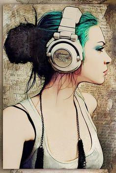 искусство, рисунок, девушка, волосы, музыка