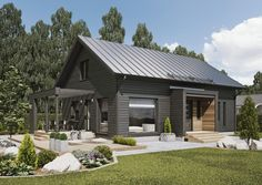 Similar shaped roofline. Like the timber and grey. Shed Homes, Cabin Homes, Log Homes, Metal Building Homes, Building A House, Modern Barn House, House In The Woods, Architecture Design, House Plans