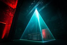 Pyramid of light - Light installation in a former industrial mixing plant Concert Stage Design, All Of The Lights, Light Installation, Light Art, Medium Art, Set Design, Lighting Design, Fine Art, Photography