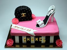 Chanel Birthday Cake for Girl - Sponge cake, soaked, 3layers of fresh cream, italian cheese Mascarpone and fresh raspberries - handbag and shoe made from german marzipan - London http://www.pinkcakeland.co.uk