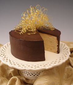 Chocolate Caramel Mille Crepes Cake-sliced by kellbakes for Baking911, via Flickr