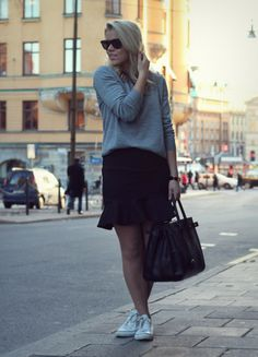 grey knit + black skirt