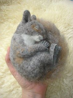 Needle Felted Sleeping Squirrel by Tamara111, via Flickr