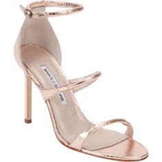 Manolo Blahnik Bombita Rolled-Strap Sandals in metallic rose gold