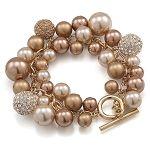 Bracelet Single Row | Aubrey Crystal Gold Pearl | Carolee.com