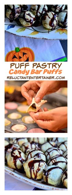 Puff Pastry Candy Bar Puffs | ReluctantEntertainer.com #harvest #halloween