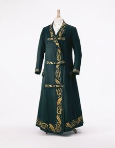 Man's dressing gown, wool embroidered with silk, c. 1820, Austrian.