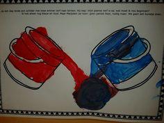 Mengen met de schilder in het kleurenwinkeltje rood + blauw = paars