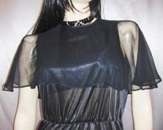 WICKED DIVA Sheer Black WET LOOK vintage 70s SEXY DISCO DRESS S/M goth glam  Available at KoolcatVintage