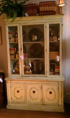 Directoire Style Painted China Cabinet w/ Chicken Wire Doors ...