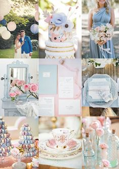 #Pantone Colour 2016 #Rose #Quartz and #Serenity #Wedding #Styling Mood Board from The Wedding Community