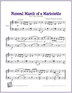 Funeral March of a Marionette (Gounod) | Free Sheet Music for Easy Piano - http://makingmusicfun.net/htm/f_printit_free_printable_sheet_music/march-of-the-marionette-piano.htm