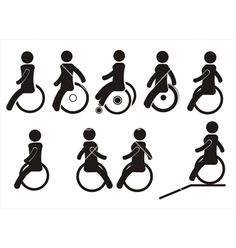 Icons of disabled people on the wheel chairs vector