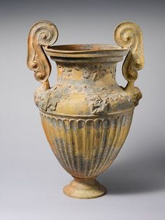 Terracotta volute-krater (bowl for mixing wine and water) Attributed to the Bolsena Group   Period:     Hellenistic Date:     ca. 330–290 B.C. Culture:     Etruscan