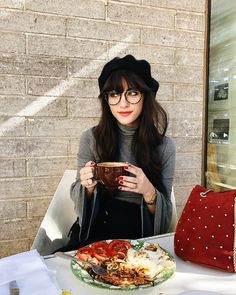 Shop the Look from New Darlings on ShopStyleBerets and Paige Turtleneck - Bangs and glasses - New Darlings Weekends w. Bangs And Glasses, Glasses Outfit, Girl Glasses, Womens Fashion Online, Latest Fashion For Women, Barett Outfit, Choppy Bangs, Swoop Bangs, New Darlings