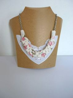 Oversized Fabric Necklace, Straight Knot Necklace, Chunky Textile Necklace, Statement White Necklace, Sweater Necklace, Box Braid Necklace