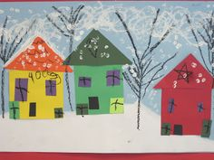 Lines, Dots, and Doodles: Kindergarten winter take on shape neighborhoods.  love the black line trees and Qtip printed snow