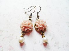 Brass earrings with dirty pink roses and ivory glass pearls, Selma Dreams romantic jewelry, sweet jewellery gifts for her by SelmaDreams on Etsy