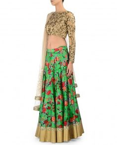 Floral Printed Parrot Green Lengha Set with Sequined Blouse - Kylee - Designers
