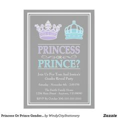 blue and purple Gender Reveal Party Invitations