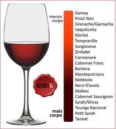 Wine Body - Infographic- Corpo do vinho – Infográfico Wine Body Winery Tasting Room, Wine Tasting, Cabernet Sauvignon, Guide Vin, Coca Cola Vintage, Wine Jokes, Wine Chart, Sweet White Wine, Wine Dispenser