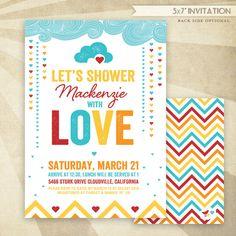 Retro Rainbow Baby Shower CUSTOM PRINTABLE Invitation by HWTM
