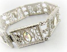 Vintage Silver Filigree Bracelet DESIGNER 1928 by RedGarnetVintage