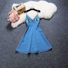 $20.80 Джинсовый сарафан - http://ali.pub/1avj7v  #denim #dress #aliexpress