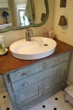 Dresser turned bath vanity..with a different sink maybe
