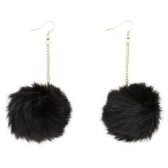 Black Fluffy Pom Pom Earrings ($6.08) ❤ liked on Polyvore featuring jewelry, earrings, black, yellow gold jewelry, black jewelry, chain jewelry, black jet jewelry and gold jewellery