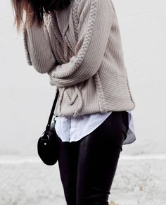 SPOTTED    Sara Donaldson of Harper & Harley wearing GASPARRE Cashmere's Cable knit Sweater SHOP HERE ==> http://www.gasparrecashmere.com/collections/sale/products/cable-sweater-latte