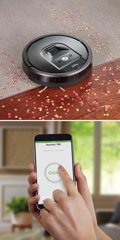 "The App Controlled Roomba 980. Made by iRobot, this is Roomba 980, the robotic vacuum that you can command to clean from anywhere via a smartphone app. The free app for Android or iPhone lets you start, pause, and monitor Roomba 980, set a cleaning schedule, and even track job history wherever you are—or you can simply press the ""clean"" button on the robot."