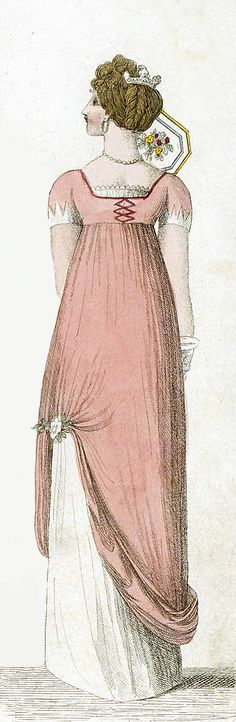 An Opera Dress, 1808.  Is this the back? I like the comb in the hair