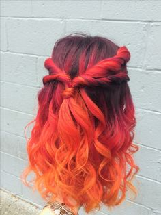 Sunset color melt. Fire hair. Joico color intensity. Balayage. Red balayage. Orange balayage.   Magenta red fiery coral orange yellow. Color melt. Red ombré. Orange ombré. Sunset hair. Curly hair. Colorful hair. Pinterest hair. Red curls. Orange curls. Joico color Fun color hair