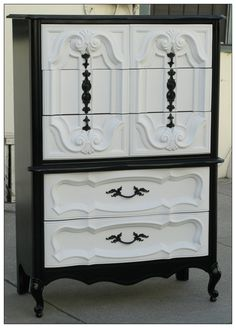 Vintage Refurbished Black & White Hollywood Regency Tallboy Dresser.
