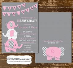 Adorable elephant invitation for a baby shower! It's a girl! Pink Elephant Baby Shower Invitation Co Ed Baby by colorsofsummer