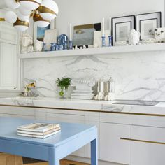 Room of the Week :: A Glamorous Parisian Kitchen - coco kelley glamorous eclectic modern parisian kitchen with a blue island and brass accents Parisian Kitchen, Best Neutral Paint Colors, Eclectic Modern, Paris Apartments, Parisian Apartment, Architectural Digest, Home Improvement Projects, Dining Area, Dining Room