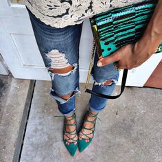 green lace up flats with distressed denim and lace