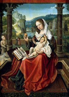 1516 Bernaert van Orley Vierge à l'Enfant et Saint Jean-Baptiste Huile sur bois - 98 x 71 cm  Prado - Madrid  L'oeuvre est ici inversée pour correspondre au paysage
