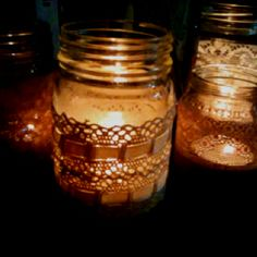 Jars with lace & tea lights Candle Jars, Candles, Tea Lights, Big, Lace, Candy, Racing, Lace Making, Pillar Candles