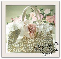pink peony and ruffle tote bag