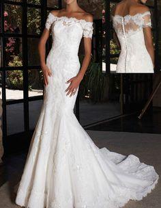 Elegant Off-the-Shoulder White Lace Short Sleeve Mermaid Wedding Dress Size 8-18