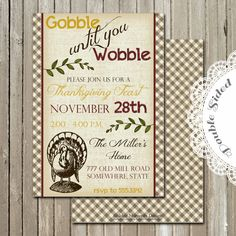 Printable Invitation  Thankgiving Dinner  by GoldenMomentsDesign, $15.00