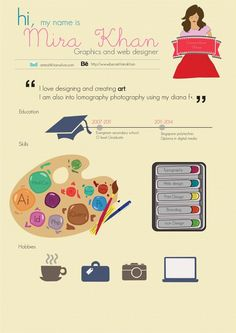 Mira Khan #infographic #resume #job visual #CV #lavoro