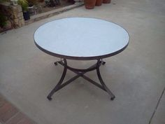 """Strap Table with Galvanized Zinc top.  Available in various sizes. 42"""" r shown"""
