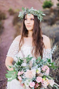 boho bride with leafy crown